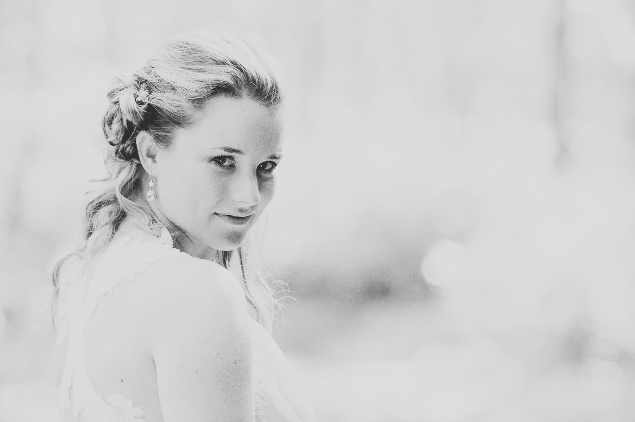 Trouwreportage mooi portret in het zwart wit