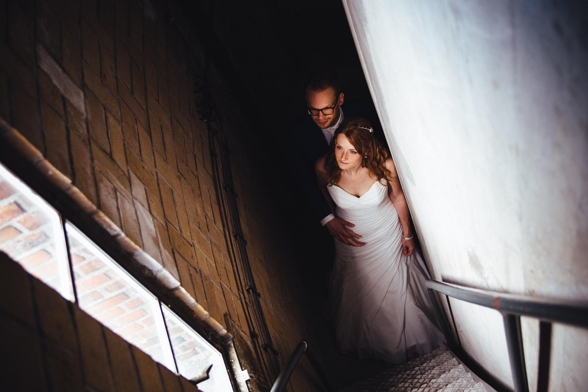 portret bruid en bruidegom in de watertoren in pekela