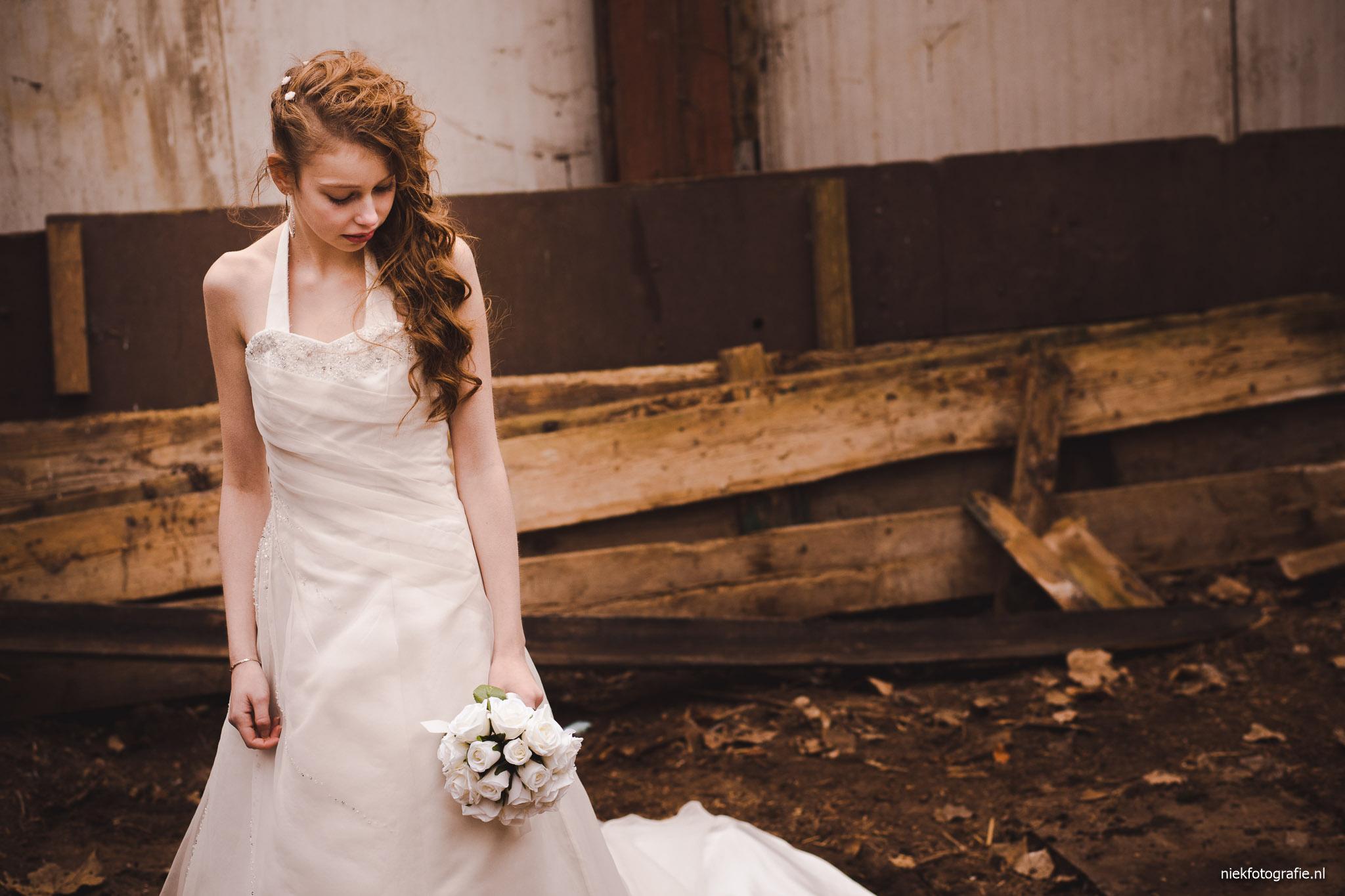 trouwreportage albertsmaheert noorwolde groningen portret bruidsjurk