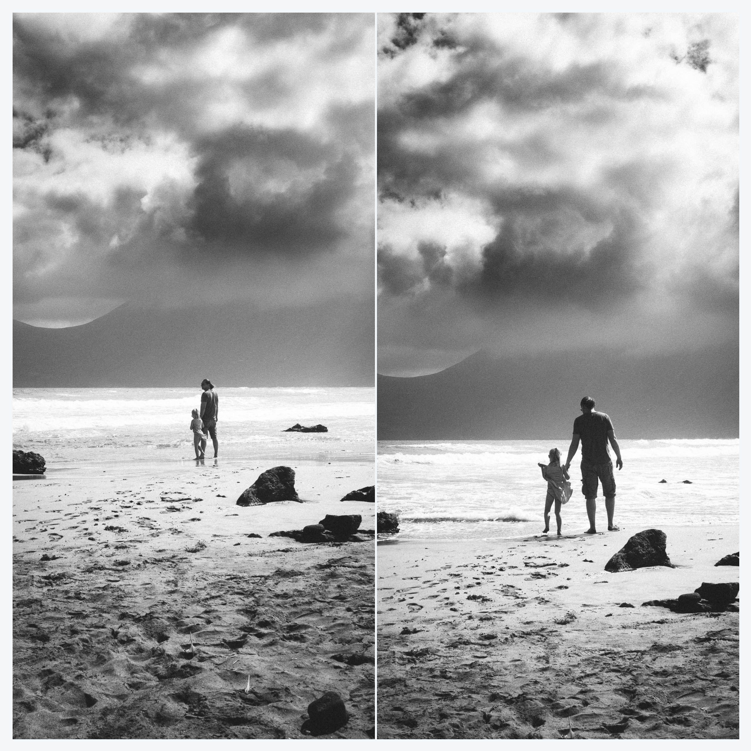 Samen met Leela op een strand in Lanzarote